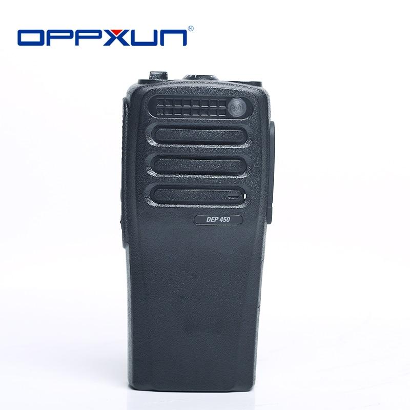 OPPXUN Black Housing Shell Front Case with Volume Channel Knobs for Motorola Walkie Talkie XIR P3688 DP1400 DEP450 Two Way Radio