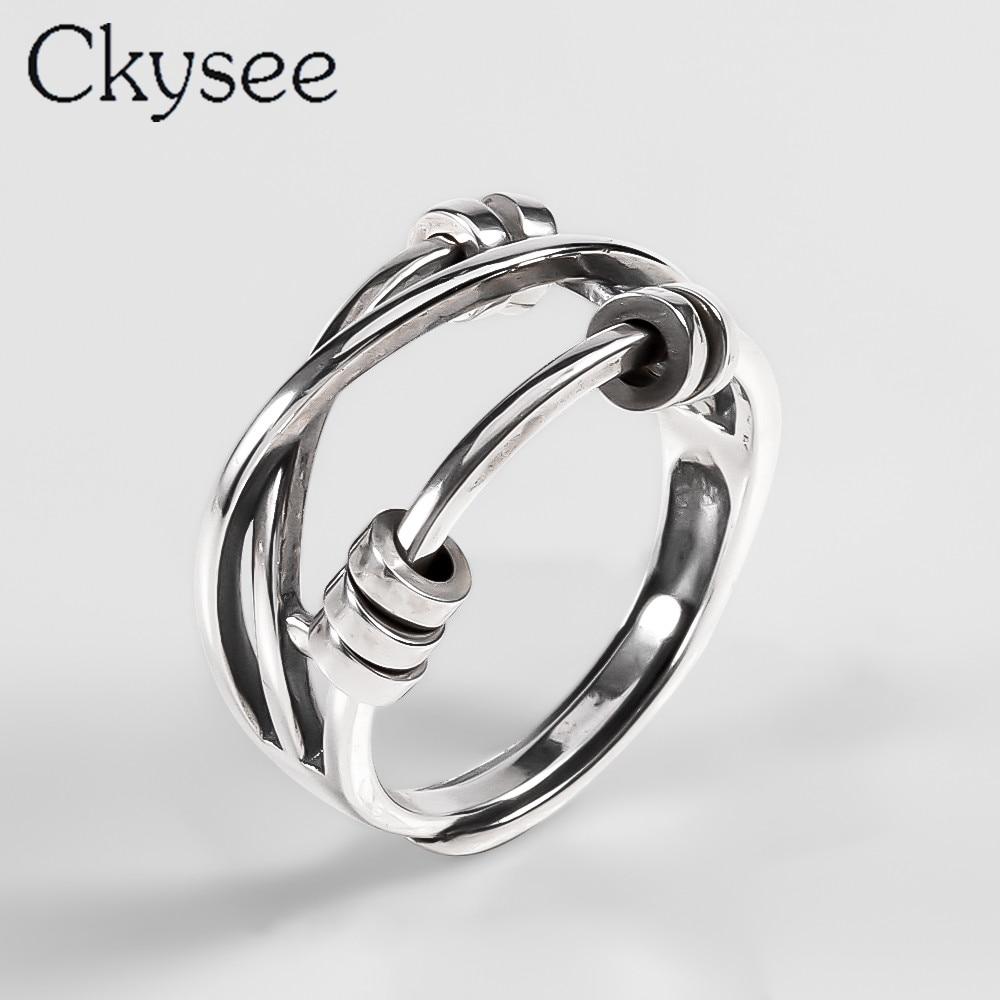 Ckysee, anillos únicos simples de Plata de Ley 925, banda trenzada, anillo para dedo multicapa, joyería de plata 925