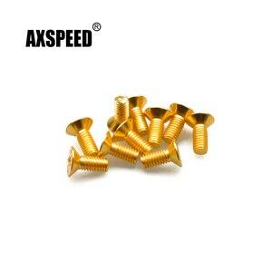 AXSPEED 10Pcs M4x6/8/10 Gilded Hex Socket Flat Head Machine Screws for RC Toy Cars