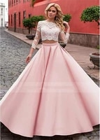 new fashion long two piece prom dresses satin lace neckline a line long evening dress prom gowns custom made dresese