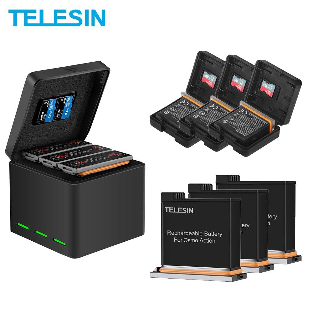 TELESIN-Paquete de 3 espaà ol pilas recargables + 3 slots de almacenamiento...