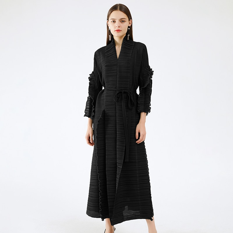 Miyake pleated long petal sleeve dress lapel cardigan Sashes plus size high long green dress 2020 winter women aesthetic clothes