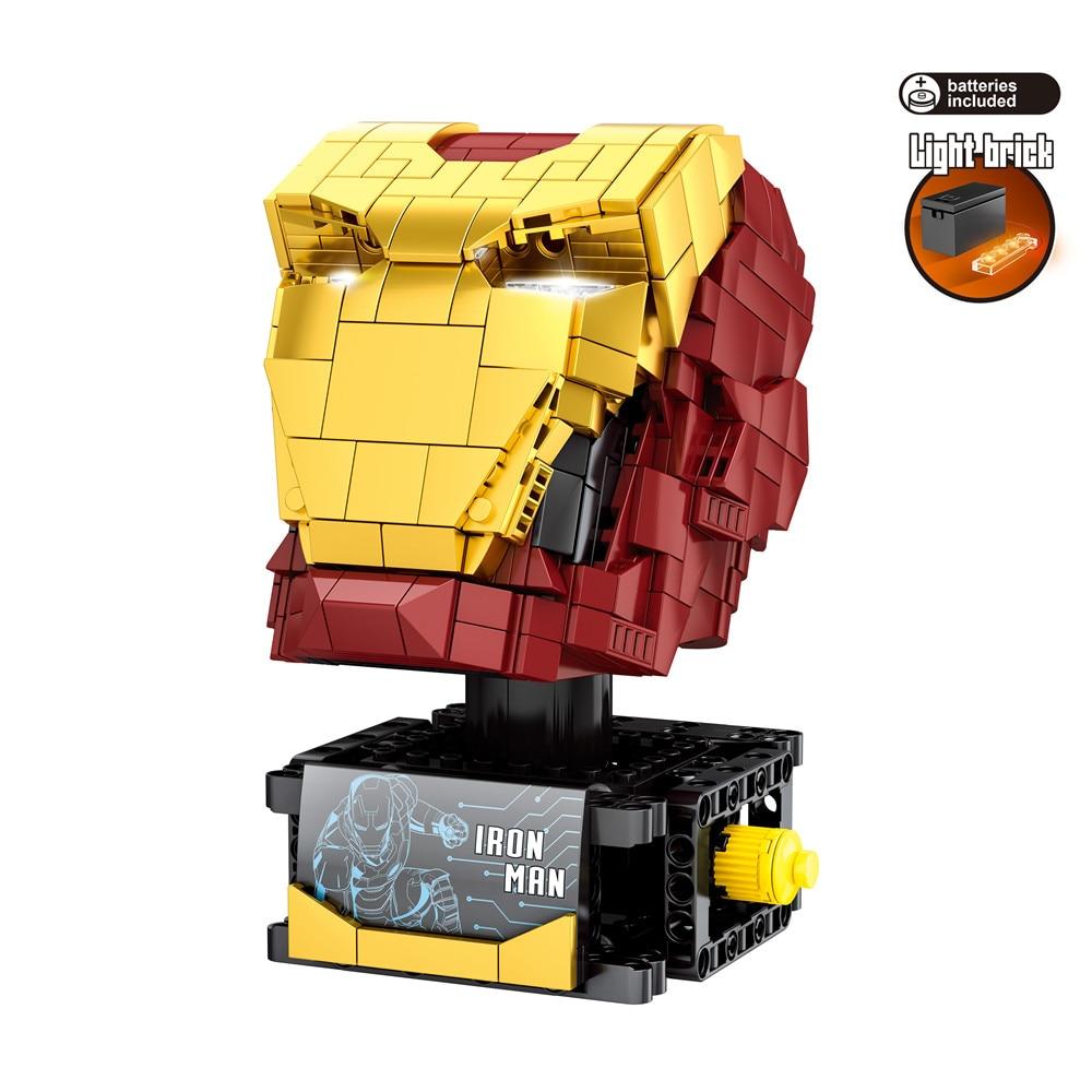 2020 Marvel Avengers Super Heroes Iron Man Bust Model Figures Building Blocks Bricks Kids Toys Gift