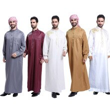 Nuevos hombres Arabia Saudita Thawb Maxi bata musulmán Jubba Thobe Arabia Saudita Jibab Kaftan Ramadan vestido Abaya vestido Dubai ropa islámica SL1369