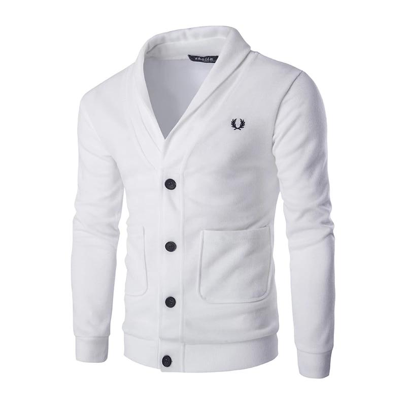Casual Men Cardigan V Neckline Regular Fit Cardigan Sweatshirt Men Long Sleeve Button Solid Color Knitted Top Sweatshirts