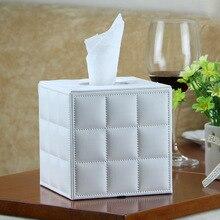 Super remise PU créatif en cuir tissu support de la boîte carré porte-serviettes tiroir distributeur avec fond magnétique LB52211