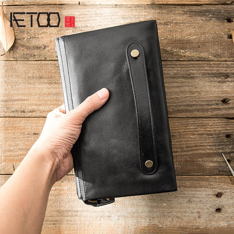 Мужской длинный кожаный бумажник AETOO, повседневная сумка из мягкой кожи, головной Кожаный клатч