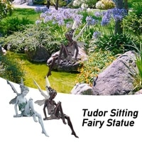tudor and turek resin sitting fairy statue garden ornament craft porch sculpture yard craft landscaping for home decoration gift