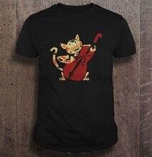 Männer Lustige T Shirt Mode t-shirt Spaß künstlerische kattun Katze spielen cello Frauen t-shirt
