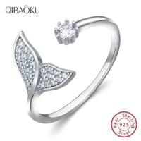 925 sterling silver open ring for women jewelry ocean mermaid anillos zircon pearls rings korean adjustable jewelry