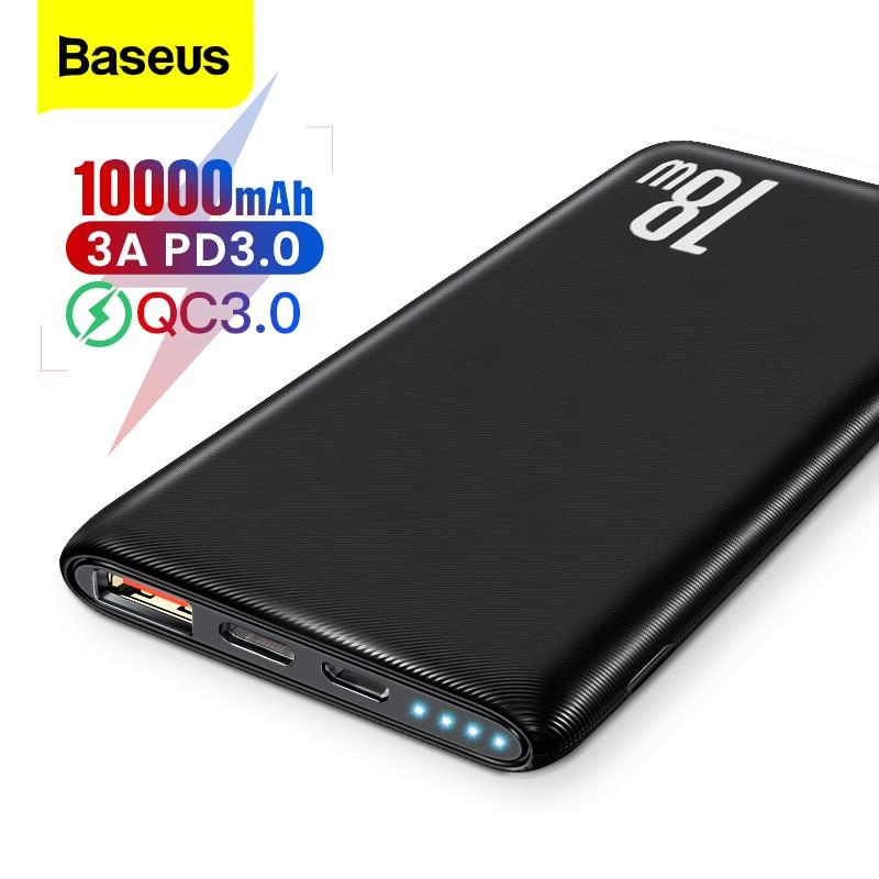 باسيوس باور بانك 3.0 10000mAh للشحن السريع من نوع USB PD 10000 شاحن بطارية خارجي محمول باوربانك لهاتف شاومي Mi iPhone