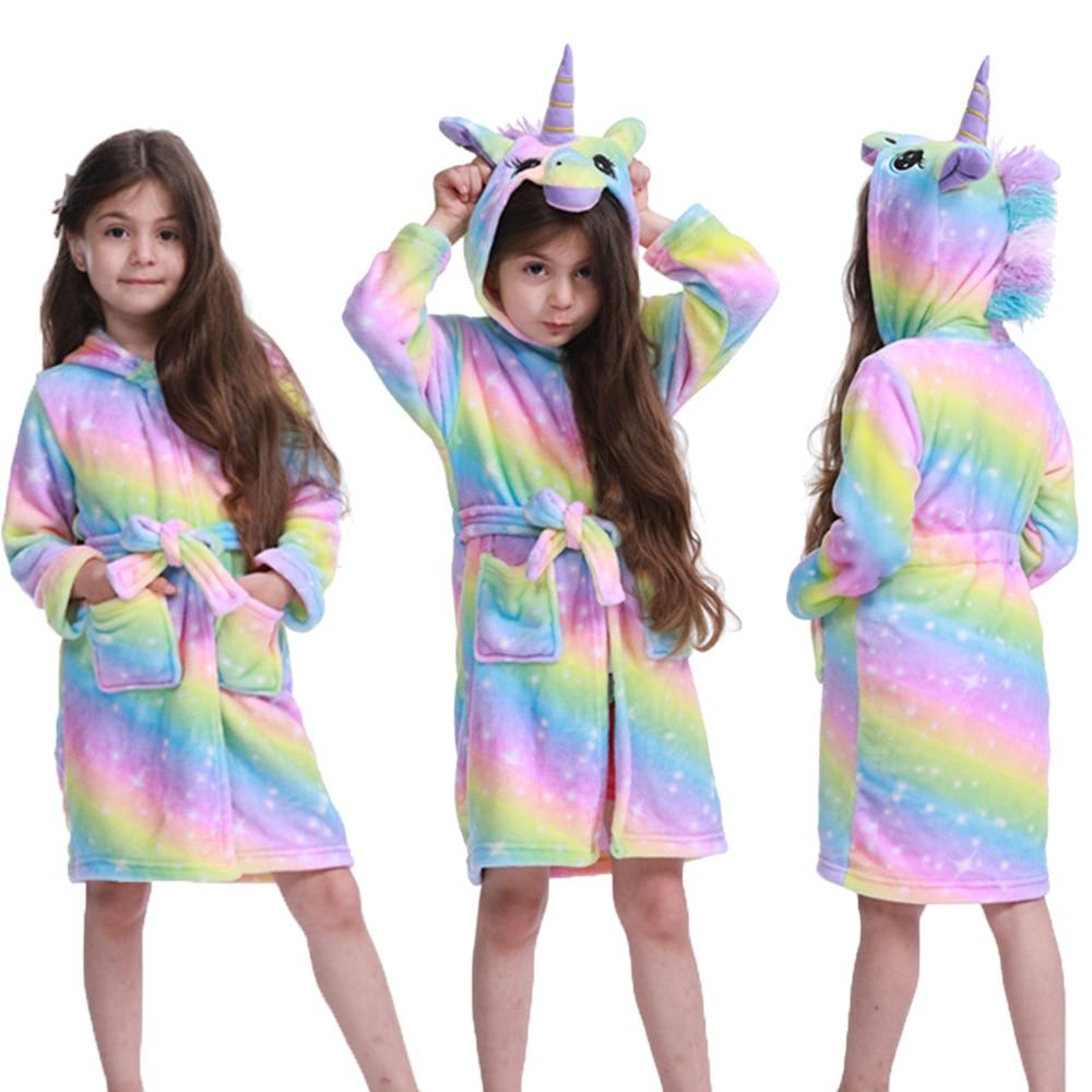 2021 Warm Kigurumi Bathrobe Kids Animal Cartoon Unicorn Cute Children Bathrobes Flannel Pajamas Boys Girls Robes Sleepwear