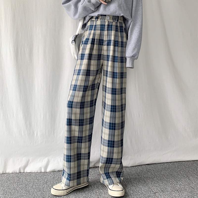 Plaid Pants Women's Casual Chic Oversize High Waist Loose Wide Leg Pants Korean Retro Harajuku Hip H