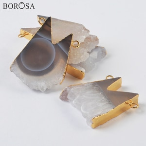 BOROSA Gold Agates Druzy Connectors for Necklaces Making 24inch Long Chains Natural Druzy Necklaces Gems Stone Jewel G2003