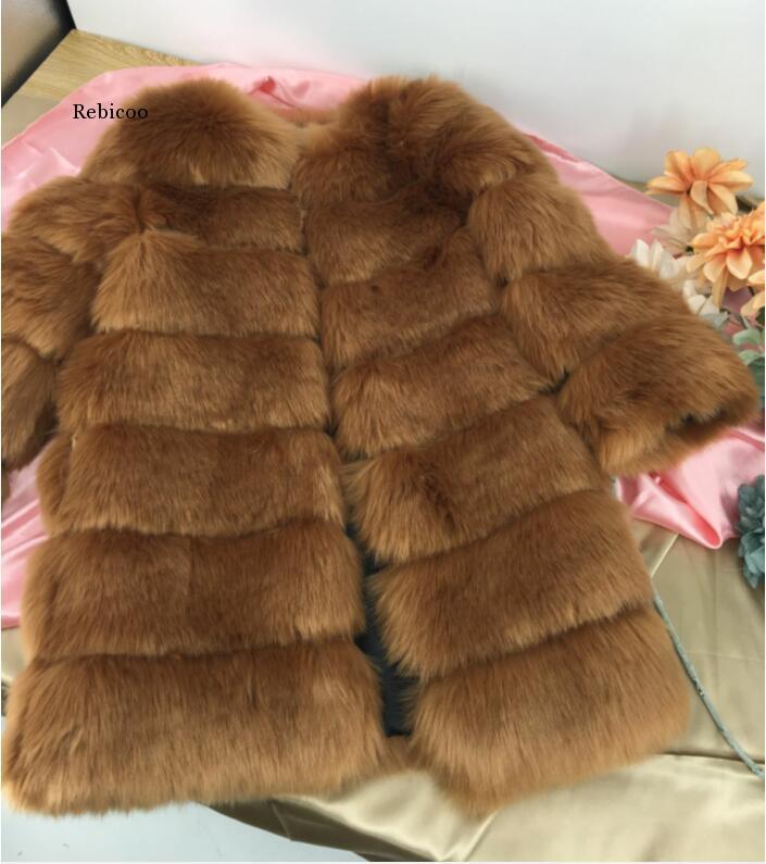Abrigo largo de lujo de piel sintética para mujer, abrigo grueso y...