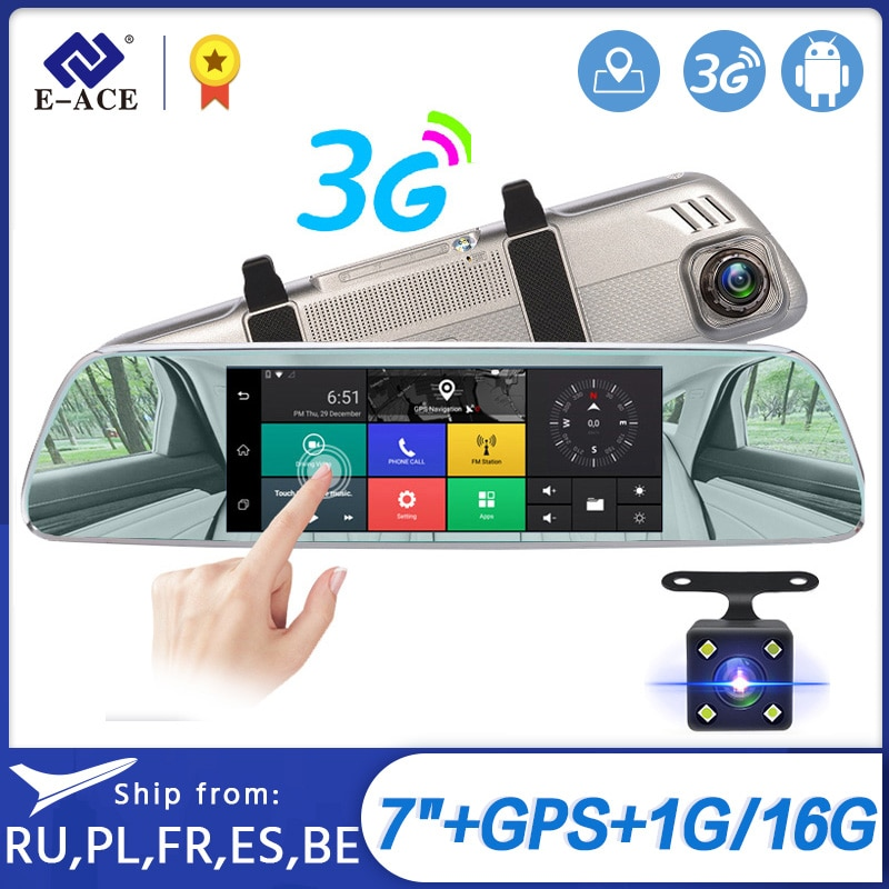 "E-ACE de Coche Dvrs 7 ""Touch espejo retrovisor 3G Android 5,0 cámaras GPS Bluetooth manos libres WIFI FHD 1080P16G lente Dual grabadora de vídeo"