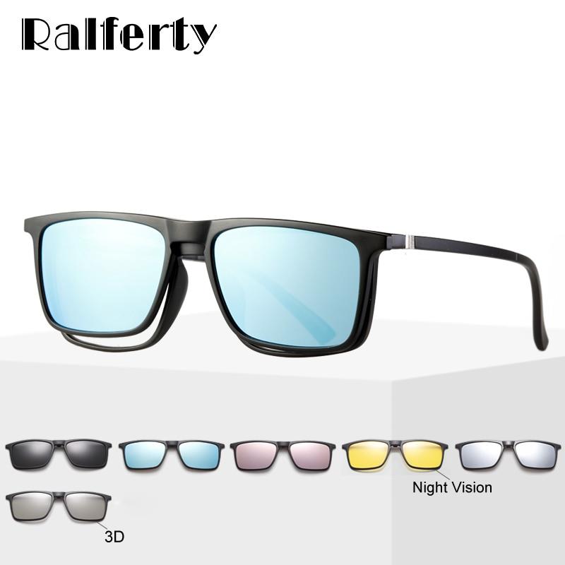 Ralferty 6 In 1 Magnet Sunglasses Men Polarized Clip On Glasses Women Square Prescription Optic Fram