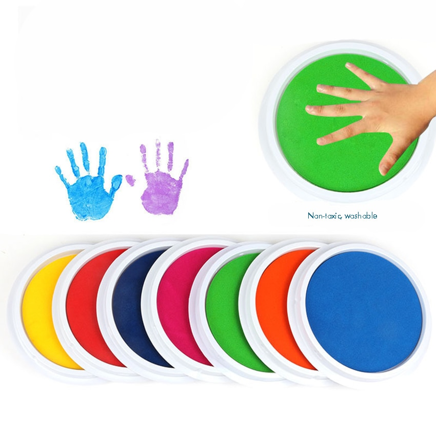 Colored DIY Ink Pad Stamp, Washable Finger Painting Craft Inkpad Large Round for Kid's Rubber Stamp, Scrapbooking Cards