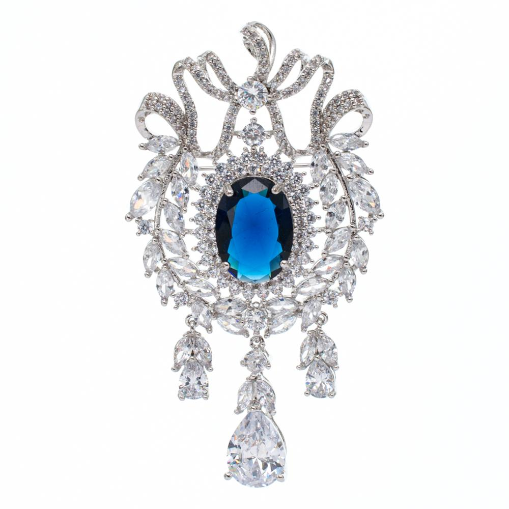 5A Cubic Zirconia Blue Dangle Olive Branch Brooch Broach Pin High Quality Women Jewelry Dress Accessories B0068BLU