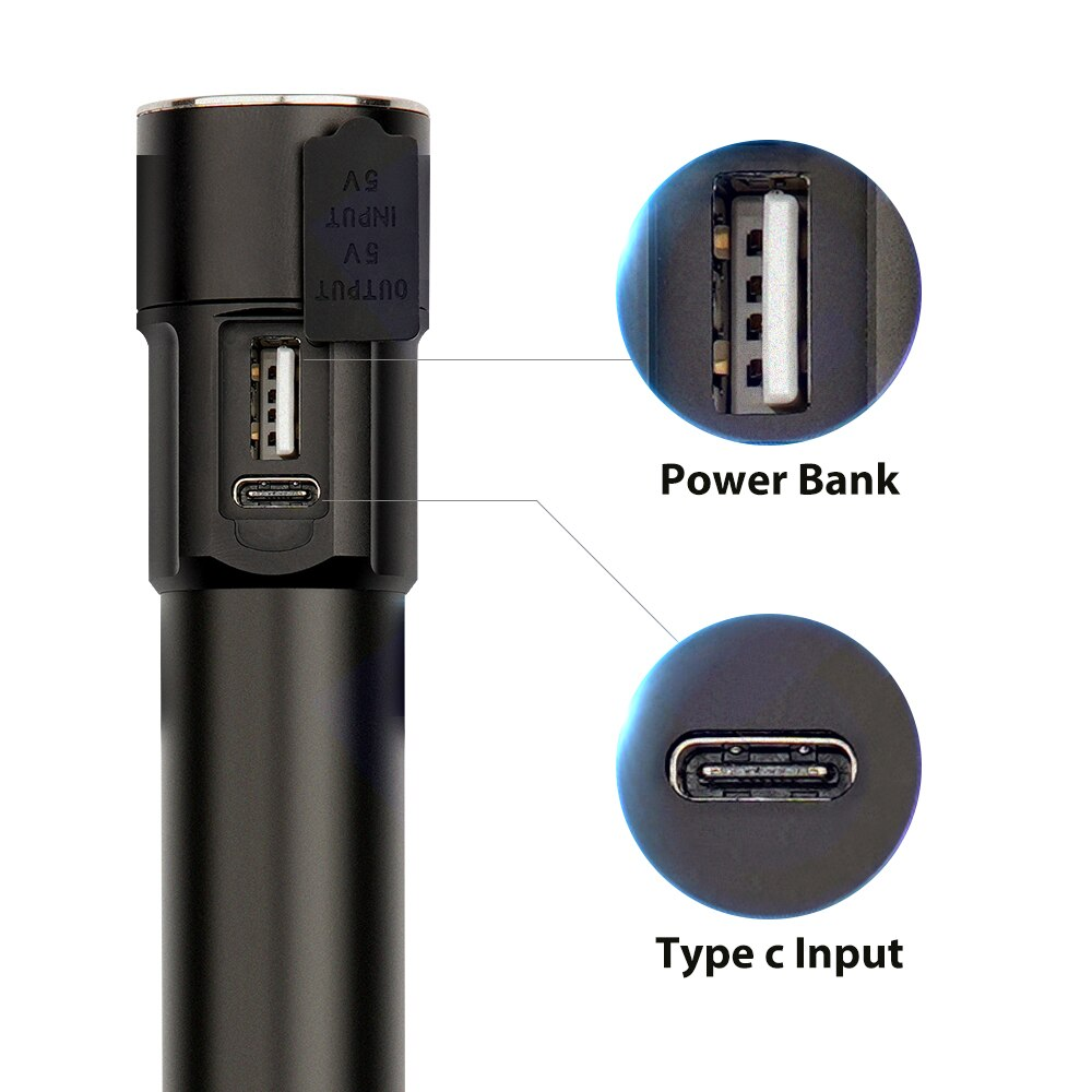 Free Sample 1000 Lumens 5 Modes Aluminium High Power 18650 USB 3.7v 10w Rechargeable Led flashlight with USB Charger enlarge