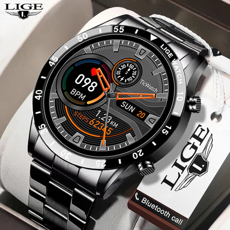 LIGE جديد الرجال ساعة ذكية معدل ضربات القلب ضغط الدم IP68 مقاوم للماء الرياضة اللياقة البدنية ساعة فاخرة ساعة ذكية الذكور ل iOS أندرويد