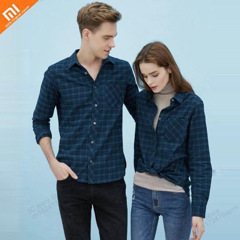 Original xiaomi mijia flannel cotton casual shirt double-sided sanding men and women shirt couple long-sleeved smart home