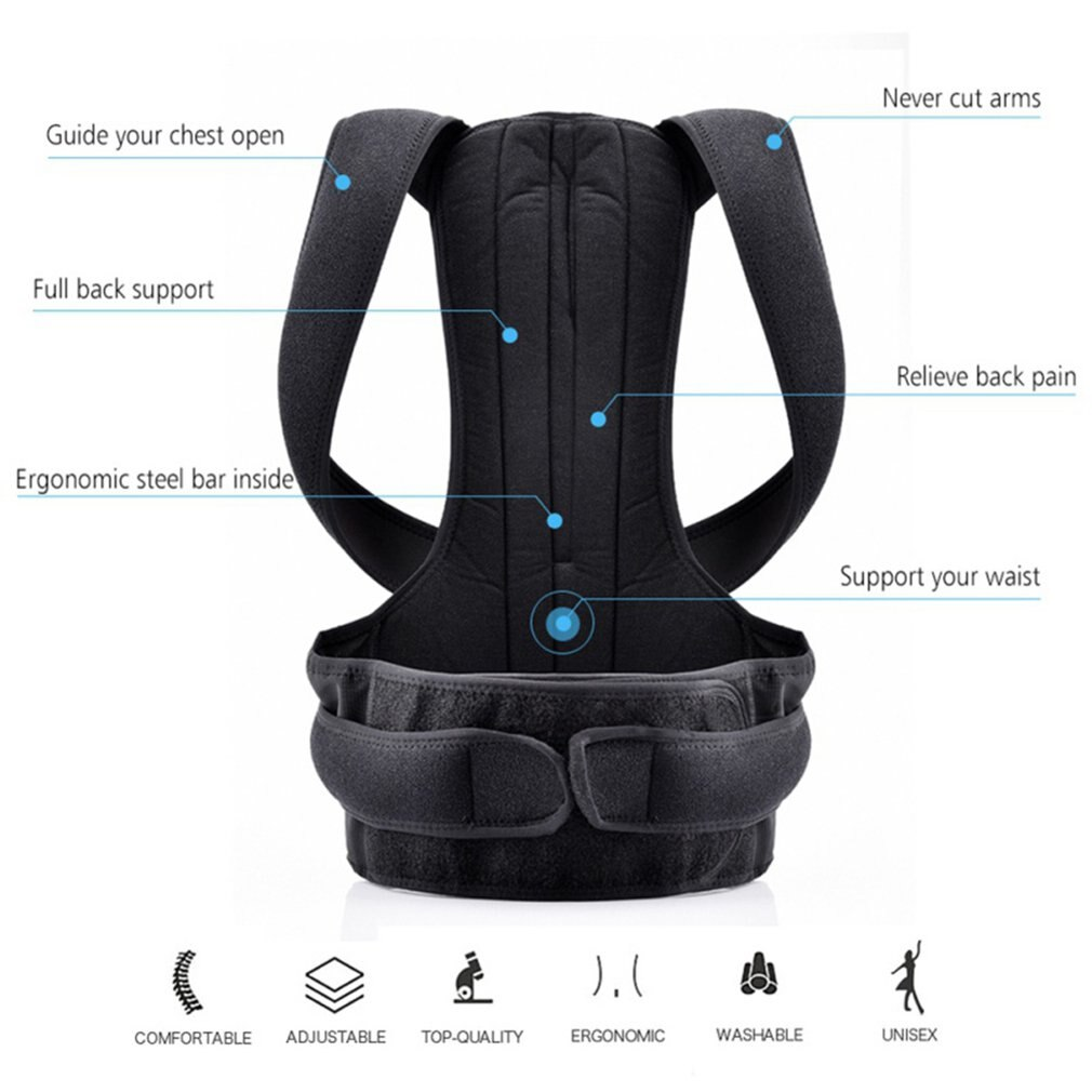 Adult Back Fixation Belt For Men And Women Posture Correction Belt With Support Plate Hunchback Corr
