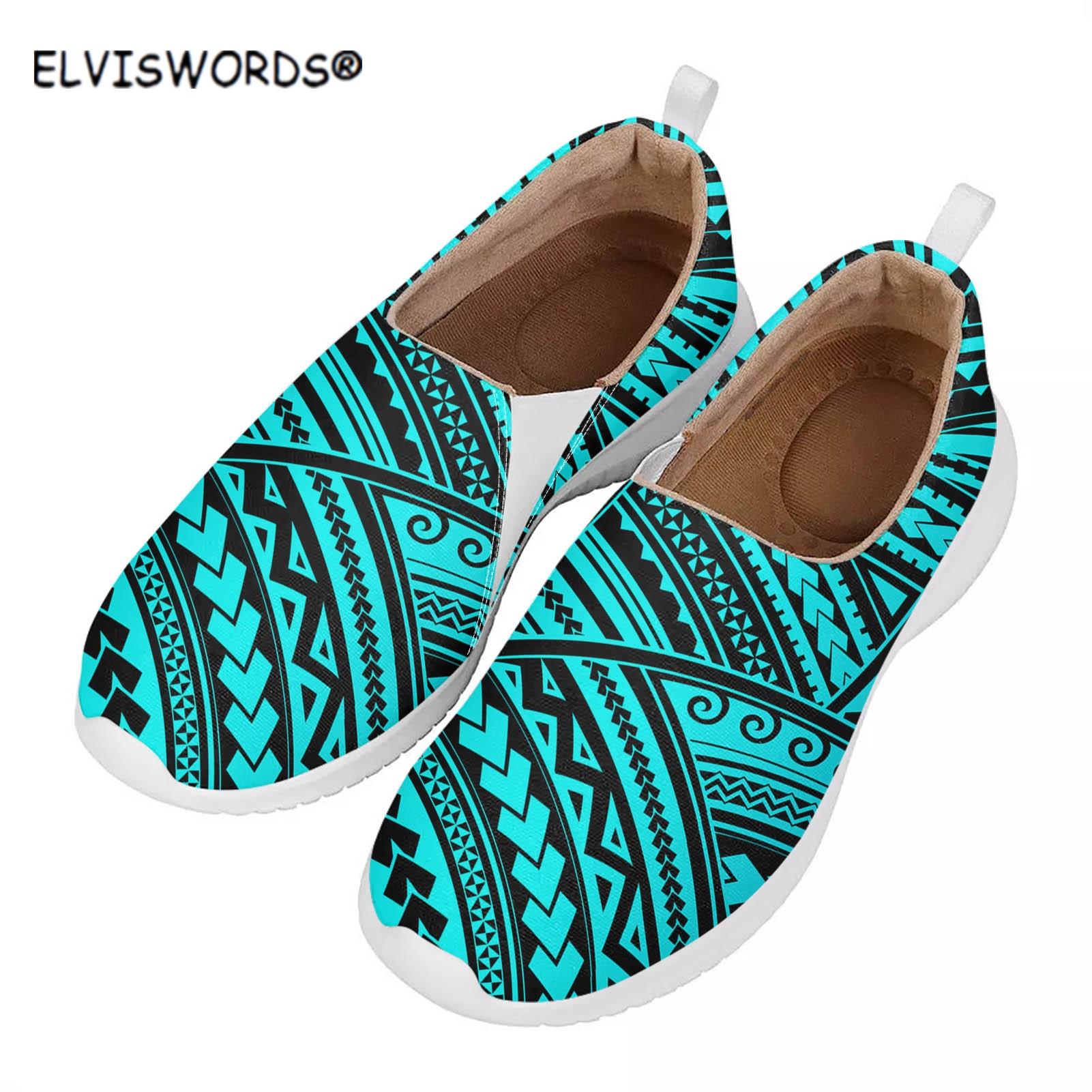 ELVISWORDS-Zapatillas planas transpirables de diseño Tribal para mujer, mocasines informales de malla...