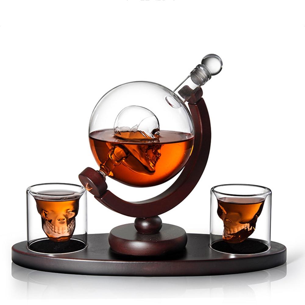 Etched Globe Design Decanter With Engraved Ball Glass For Liquor Whiskey Bourbon Wine Bottle Soda Bottle with 2 Glasses Liquor D