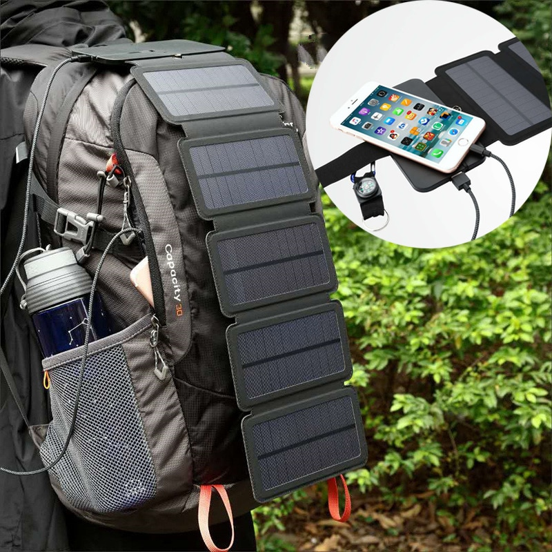 10W 5V Solar Power Folding Solar Cells Charger USB Output Outdoor Adventure Portable Solar Panels fo Phone Solar Battery Charger