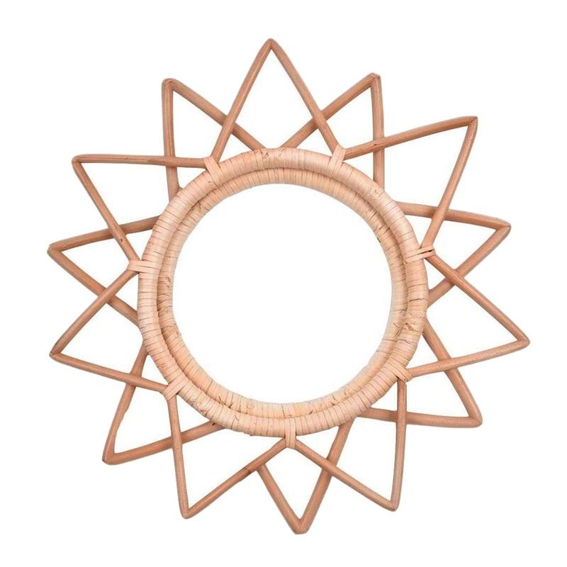 Marco de espejo de pared redondo de ratán, marco de espejo de vid Natural nórdico hecho a mano, Ideas colgantes para pared de salón, para sala de estar