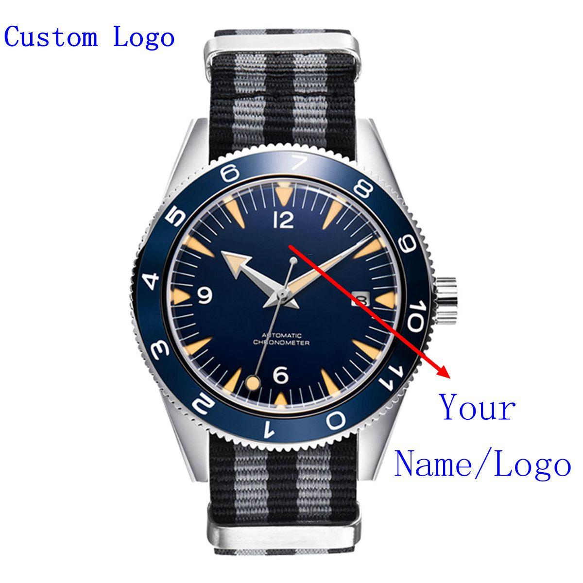 NH35 التلقائي الفاخرة العلامة التجارية العسكرية الرجال ساعة الياقوت الكريستال مضيئة الرياضة الذكور ساعة التقويم 10Bar ساعة اليد الميكانيكية