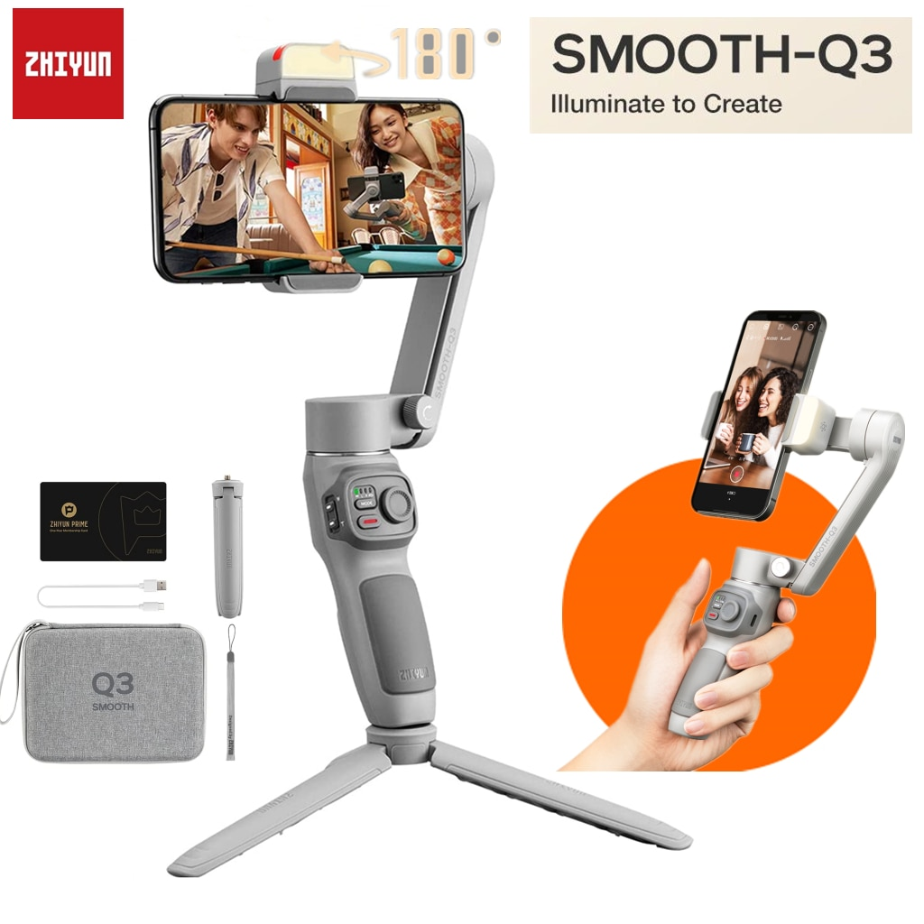 Zhiyun السلس Q3 3-محور الهاتف مثبت Gimbal آيفون 13 12 برو ماكس الهاتف الذكي أندرويد/IOS ، مع 180 درجة تدوير ملء ضوء