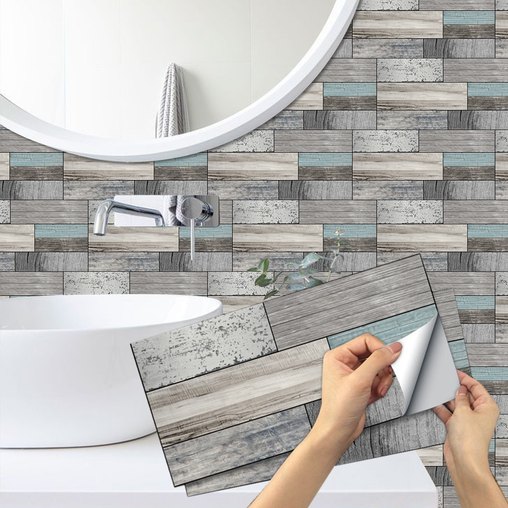 AliExpress - Self Adhesive Wood Grain Wall Tile Sticker Kitchen Backsplash Tiles Peel and Stick Vinyl Tiles Waterproof Bathroom Decoration