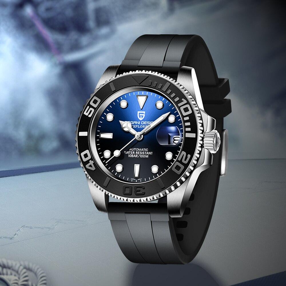 PAGANI DESIGN-ساعة عسكرية للرجال ، ساعة يد أوتوماتيكية مقاومة للماء حتى 100 متر ، NH35A ، ميكانيكية ، كريستال ياقوتي ، فاخرة ، 40 مللي متر