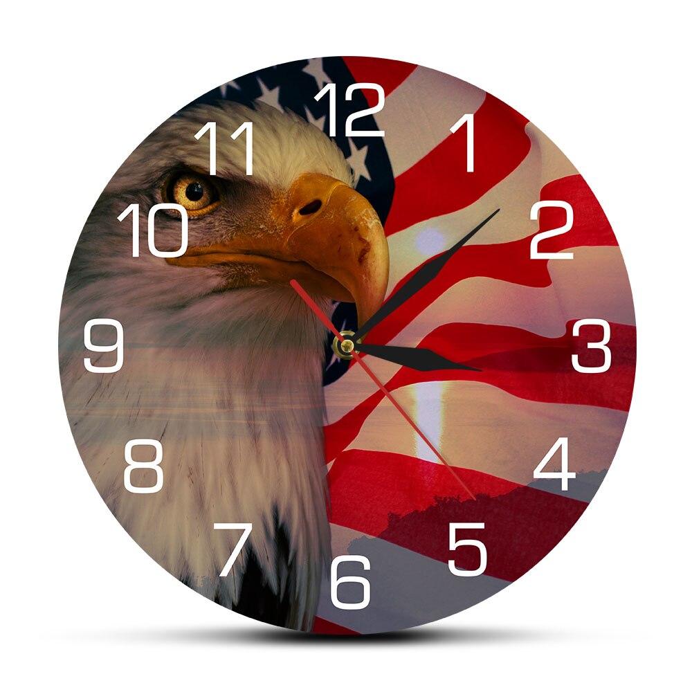 Estrellas y rayas la bandera americana patriótica águila calva Reloj de pared hogar independencia patriótica decoración Interior US Patriot regalo