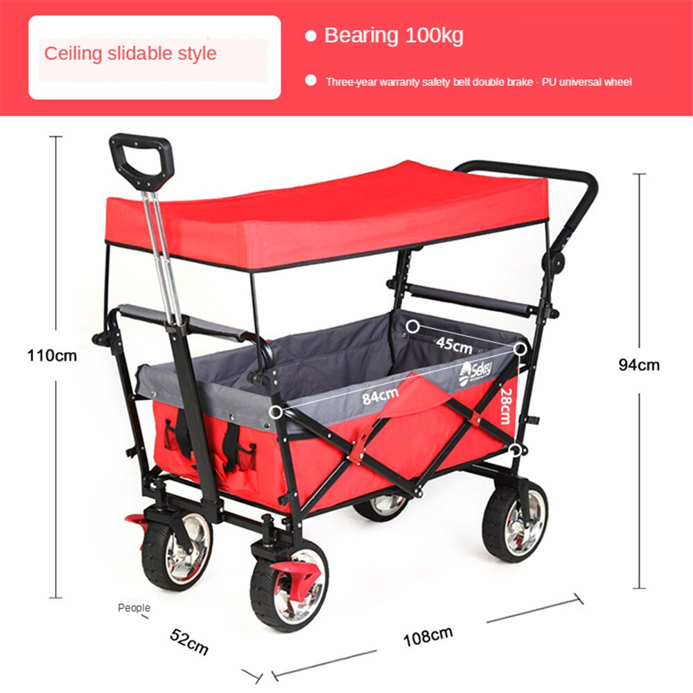 Outdoor Folding Utility Wagon Outdoor Garden Utility Trolley with Table Top and Storage Basket Portable Camping Cart