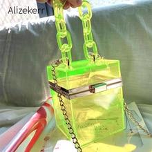 Şeffaf akrilik kutu el çantası kadın 2020 yaz küçük kare plastik şeffaf çanta omuzdan askili çanta kız Vintage Retro plaj çantaları