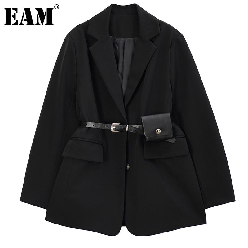 [EAM] Women Black Oversized With Belt Blazer New Lapel Long Sleeve Loose Fit Jacket Fashion Tide Spring Autumn 2021 1DE1118