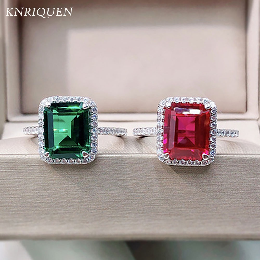 Vintage 100% Solid 925 Sterling Silver 8*10mm Emerald Ruby Gemstone Wedding Party Rings for Women Lab Diamond Fine Jewelry Gifts