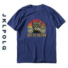 JKLPOLQ Oversized Men's T Shirts Best Cat Dad Ever Printing Funny Unisex Tops Summer Style Tees 100