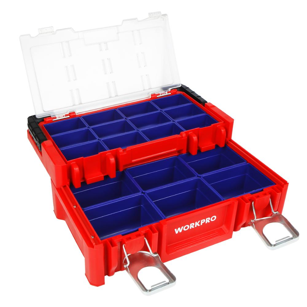 WORKPRO 17-inch Plastic Tool Box 18 Adjustable Compartments Red Storage Box with Locking Lid and Stainless Steel Handle