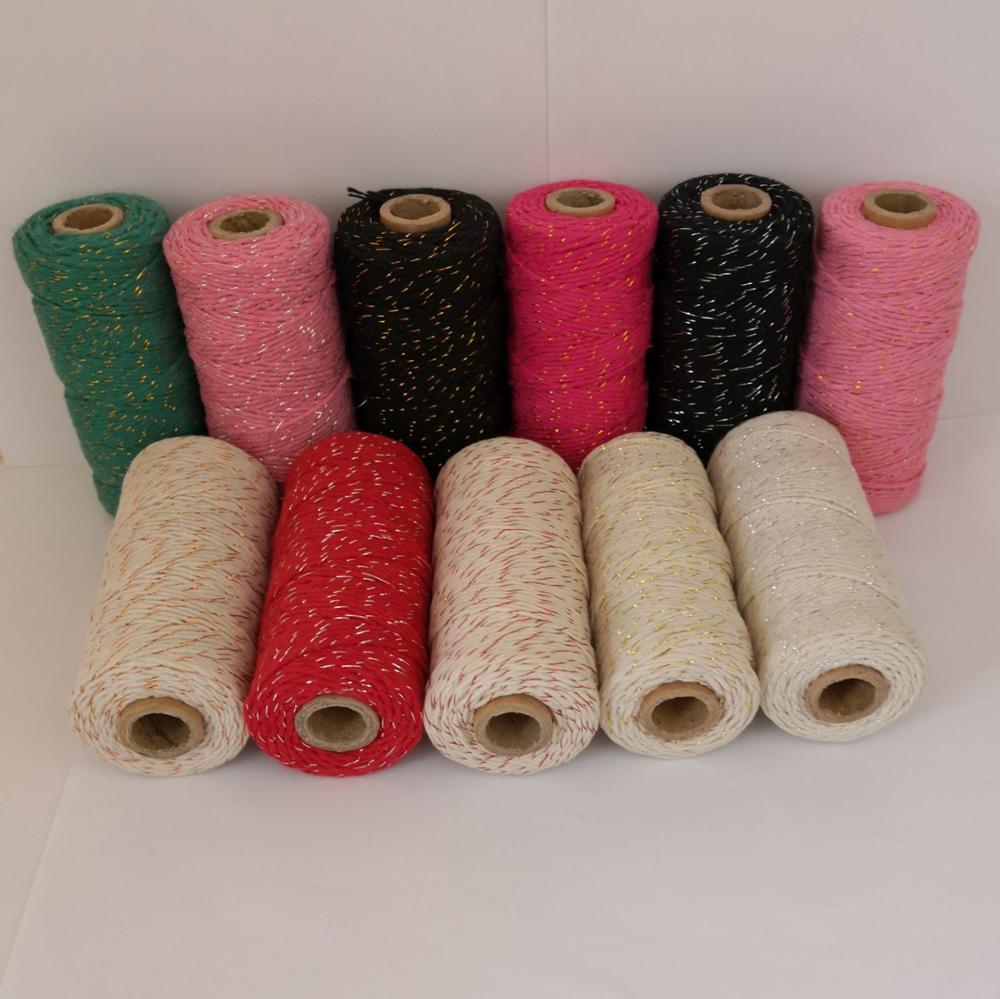 1 peça adicionar todos os tipos de fio de padeiro de algodão metálico para embalagem de presente (11 tipos de cor), fio de ouro, carretel de metal por ems