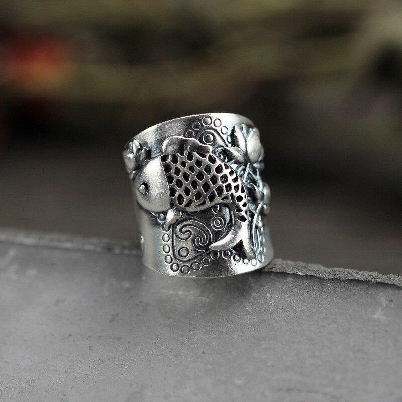 Женское-кольцо-с-цветком-рыбы-meyrroyu-Винтажное-кольцо-из-стерлингового-серебра-с-эффектом-потертости-украшение-ручной-работы-в-этническом-с