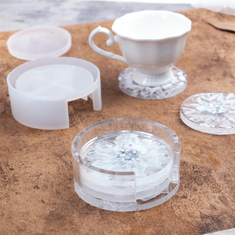 AliExpress - 9cm Round Square Coaster Silicone Mold DIY Epoxy Resin Coaster Storage Box Resin Mold Handmade Crystal Coasters Casting Molds