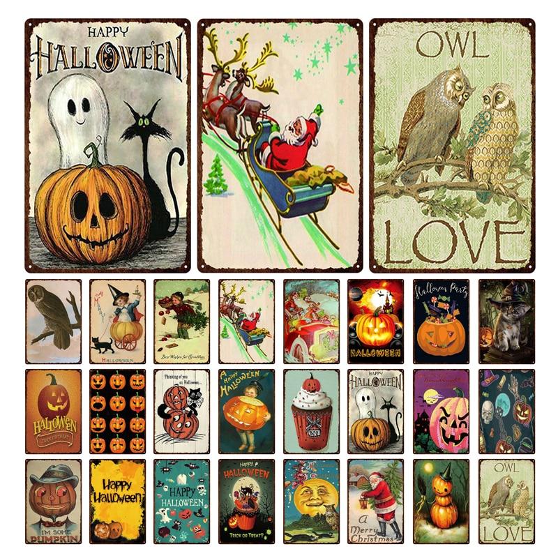 Calabaza fantasma para Halloween, lámpara de cara, pintura de estaño, decoración de celebración de vacaciones, de Metal PLACA, pintura de estaño, señal de estaño antidecoloración