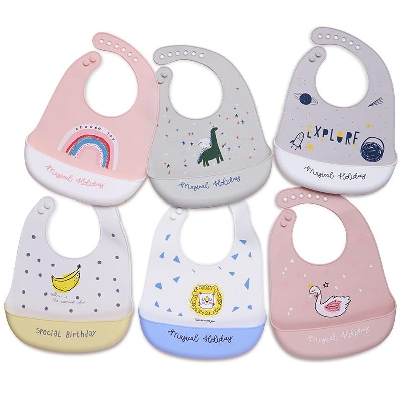 Kawaii силиконовые детские нагрудники для детей водонепроницаемые Мультяшные нагрудники для новорожденных кормления малышей мальчиков дево...