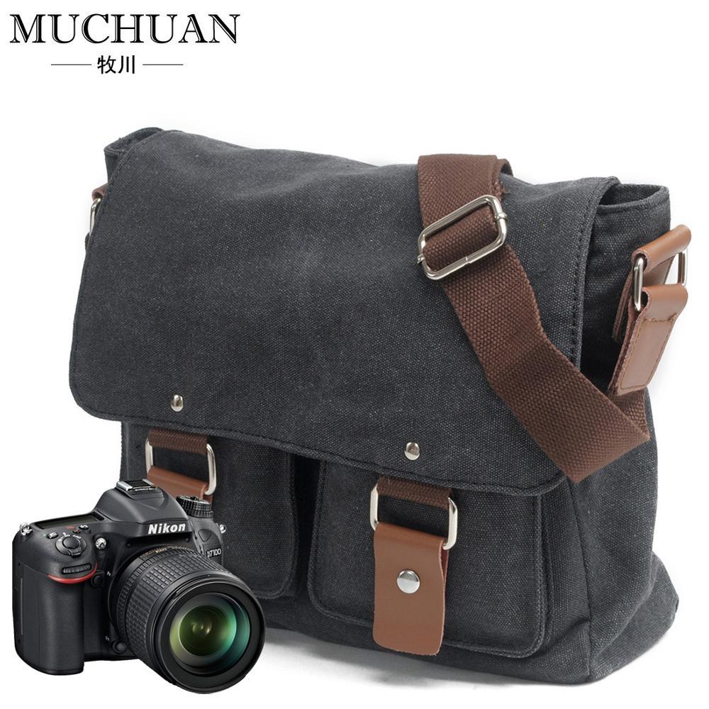 Bolso de lona para hombres y mujeres, bolso de hombro para fotos Canon, bolso para cámara Sony micro Nikon SLR