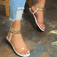2021 flat sandals summer new style fashion transparent solid color chain open toe outdoor womens shoes plus size 43