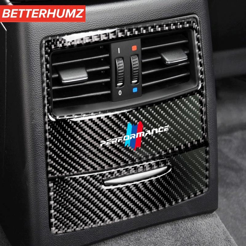 Pegatina para automóvil Interior de fibra de carbono M Performance, Panel de ventilación de aire acondicionado trasero, cubierta para BMW e90 e92 e93 2005-2012